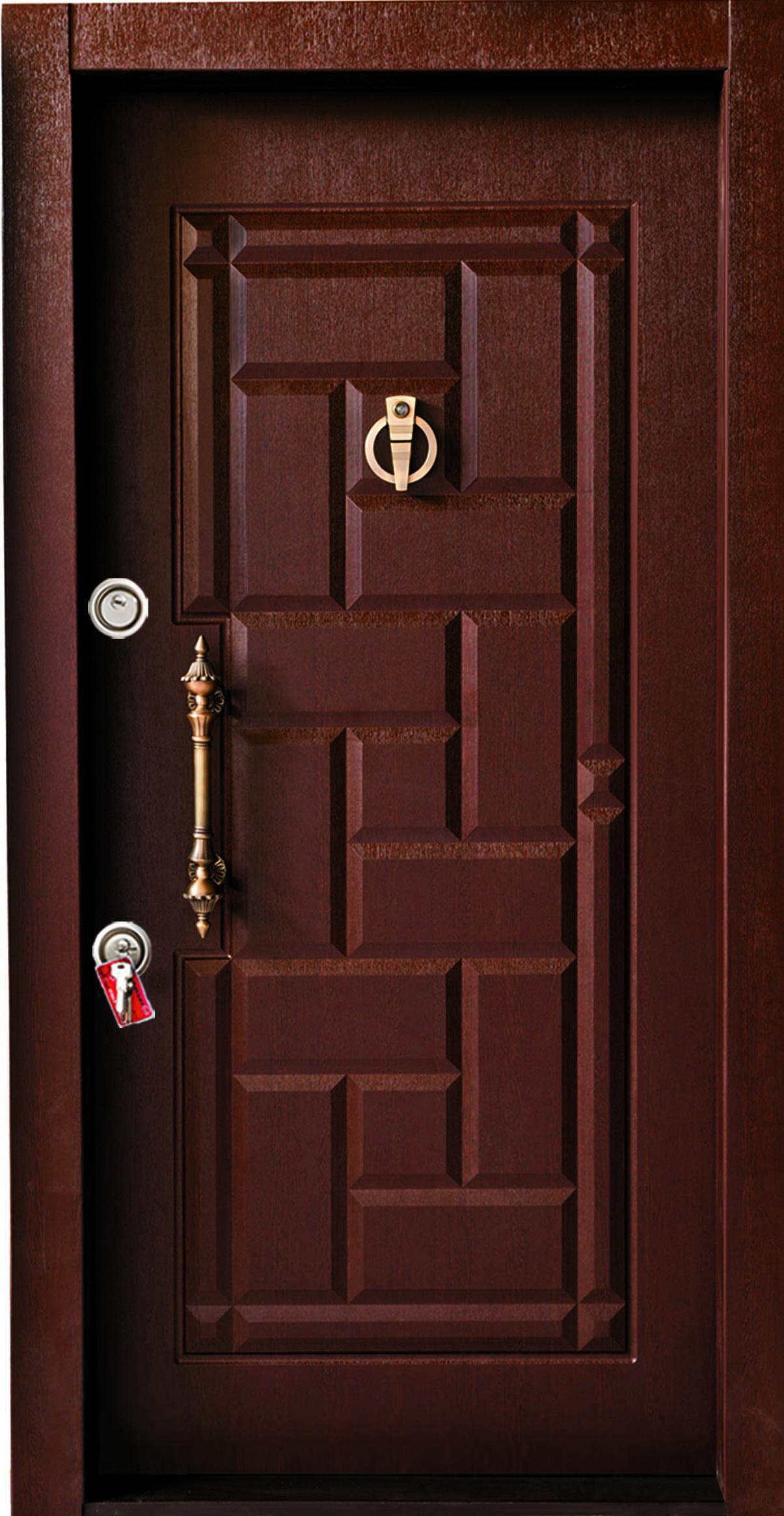 درب ضد سرقت تمام پانل کتیبه دار برجسته کد 815 با روکش PVC